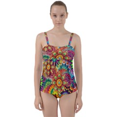 Colorful Abstract Background Colorful Twist Front Tankini Set