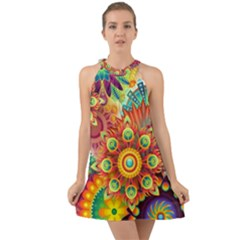 Colorful Abstract Background Colorful Halter Tie Back Chiffon Dress