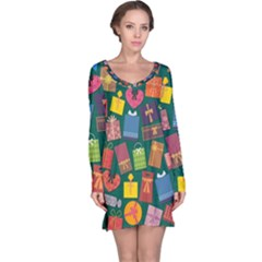 Presents Gifts Background Colorful Long Sleeve Nightdress