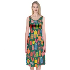 Presents Gifts Background Colorful Midi Sleeveless Dress