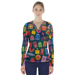 Presents Gifts Background Colorful V Neck Long Sleeve Top