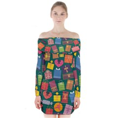 Presents Gifts Background Colorful Long Sleeve Off Shoulder Dress