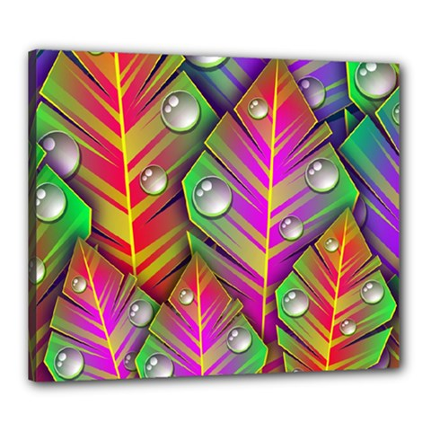 Abstract Background Colorful Leaves Canvas 24  X 20