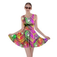 Abstract Background Colorful Leaves Skater Dress