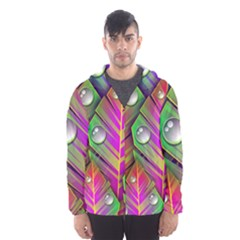 Abstract Background Colorful Leaves Hooded Wind Breaker (men)