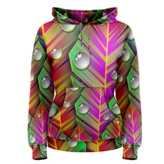 Abstract Background Colorful Leaves Women s Pullover Hoodie
