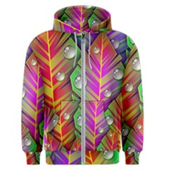 Abstract Background Colorful Leaves Men s Zipper Hoodie