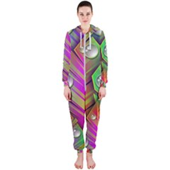 Abstract Background Colorful Leaves Hooded Jumpsuit (ladies)