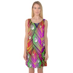 Abstract Background Colorful Leaves Sleeveless Satin Nightdress