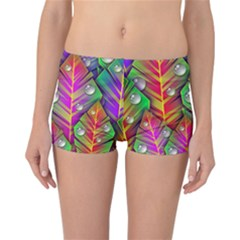 Abstract Background Colorful Leaves Reversible Boyleg Bikini Bottoms