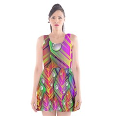 Abstract Background Colorful Leaves Scoop Neck Skater Dress