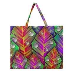 Abstract Background Colorful Leaves Zipper Large Tote Bag by Nexatart