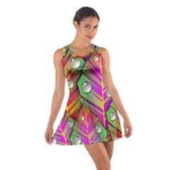 Abstract Background Colorful Leaves Cotton Racerback Dress