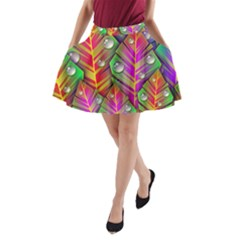Abstract Background Colorful Leaves A Line Pocket Skirt