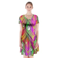 Abstract Background Colorful Leaves Short Sleeve V Neck Flare Dress