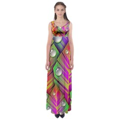 Abstract Background Colorful Leaves Empire Waist Maxi Dress