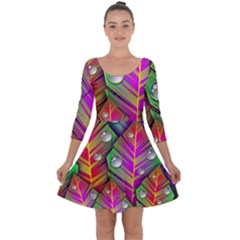 Abstract Background Colorful Leaves Quarter Sleeve Skater Dress