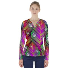 Abstract Background Colorful Leaves V Neck Long Sleeve Top