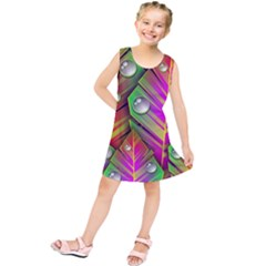 Abstract Background Colorful Leaves Kids  Tunic Dress