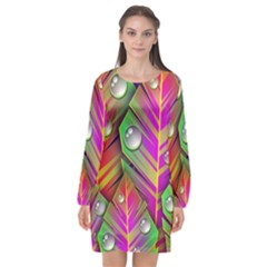 Abstract Background Colorful Leaves Long Sleeve Chiffon Shift Dress