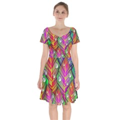 Abstract Background Colorful Leaves Short Sleeve Bardot Dress