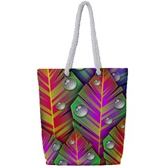Abstract Background Colorful Leaves Full Print Rope Handle Tote (small)