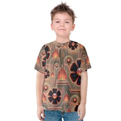 Background Floral Flower Stylised Kids  Cotton Tee