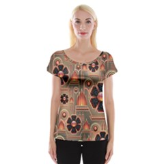 Background Floral Flower Stylised Cap Sleeve Tops