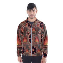 Background Floral Flower Stylised Wind Breaker (men)