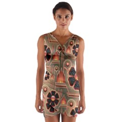 Background Floral Flower Stylised Wrap Front Bodycon Dress