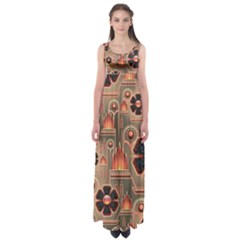 Background Floral Flower Stylised Empire Waist Maxi Dress