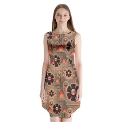 Background Floral Flower Stylised Sleeveless Chiffon Dress