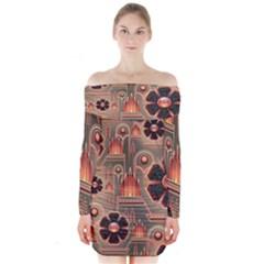 Background Floral Flower Stylised Long Sleeve Off Shoulder Dress