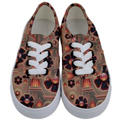 Background Floral Flower Stylised Kids  Classic Low Top Sneakers
