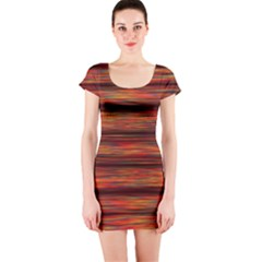 Colorful Abstract Background Strands Short Sleeve Bodycon Dress