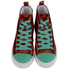 Colorful Abstract Background Strands Women s Mid Top Canvas Sneakers