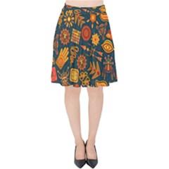 Pattern Background Ethnic Tribal Velvet High Waist Skirt