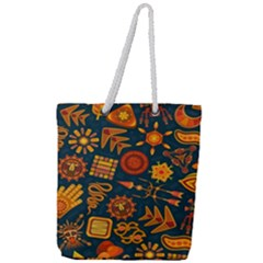 Pattern Background Ethnic Tribal Full Print Rope Handle Tote (large)