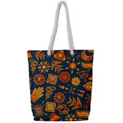 Pattern Background Ethnic Tribal Full Print Rope Handle Tote (small)