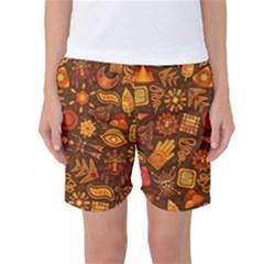 Pattern Background Ethnic Tribal Women s Basketball Shorts