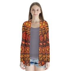 Pattern Background Ethnic Tribal Drape Collar Cardigan