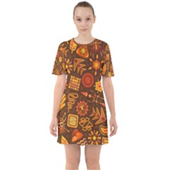 Pattern Background Ethnic Tribal Sixties Short Sleeve Mini Dress