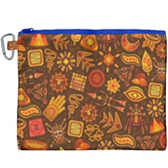 Pattern Background Ethnic Tribal Canvas Cosmetic Bag (xxxl) by Nexatart