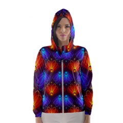 Background Colorful Abstract Hooded Wind Breaker (women)