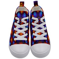 Background Colorful Abstract Kid s Mid Top Canvas Sneakers