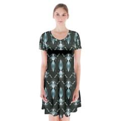 Seamless Pattern Background Short Sleeve V Neck Flare Dress