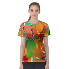 Background Colorful Abstract Women s Sport Mesh Tee