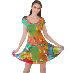 Background Colorful Abstract Cap Sleeve Dress
