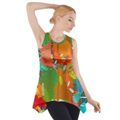 Background Colorful Abstract Side Drop Tank Tunic