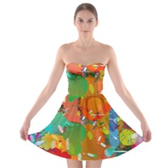 Background Colorful Abstract Strapless Bra Top Dress